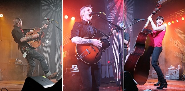 DEVILS:  The Devil Makes Three—(top to bottom) Cooper McBean, Pete Bernhard, and Lucia Turino—play the Alex Madonna Expo Center on Jan. 28. - PHOTOS BY GLEN STARKEY