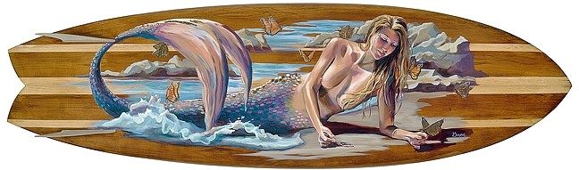 UNDER  THE SEA :  Since she learned to surf at age 21, mermaids and scenes of the ocean, like in Blessings (which features a mermaid painted onto a surfboard), have been hallmarks of Colleen Gnos' work. - IMAGE COURTESY OF COLLEEN GNOS