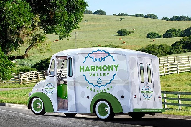 WE ALL SCREAM FOR ICE CREAM :  This mock-up depicts what the Harmony Valley Creamery ice cream trucks will look like as they roll around town, bringing creamy yumminess to SLO County. - IMAGE COURTESY OF HARMONY VALLEY CREAMERY