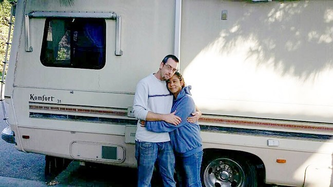 CONNECTING NEED:  Christopher and Bianca Latch stand in front of an RV donated to them through the Paso Cares RVs for Vets Program. - PHOTO COURTESY OF CHERIE MICHAELSON