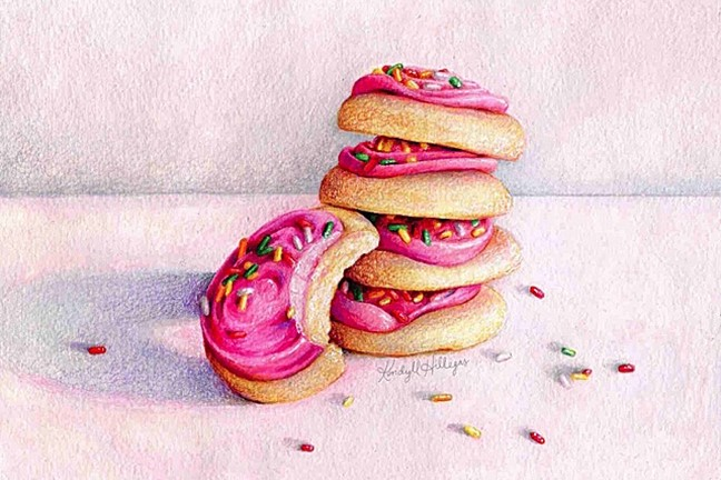 BET YA CAN'T HAVE JUST ONE:  To create mouth-watering renderings of food like Pink+Frosted+Sugar+Cookies, Kendyll Hillegas starts with a light pencil sketch to lay out proportions and composition, and then uses some mix of watercolor, colored pencil, marker, wax pastels, and gouache to gradually build up color and detail. - IMAGE COURTESY OF KENDYLL HILLEGAS