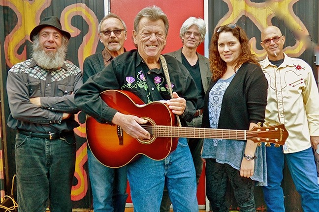 PICKERS DELUXE:  The Vigilante String Alliance—(left to right) Dan Mazer, Bob Liepman, Don Lampson, Charlie Kleeman, Julie Beaver, and Dorian Michael—plays Steynberg on Jan. 28. - PHOTO COURTESY OF DON LAMPSON AND THE VIGILANTE STRING ALLIANCE
