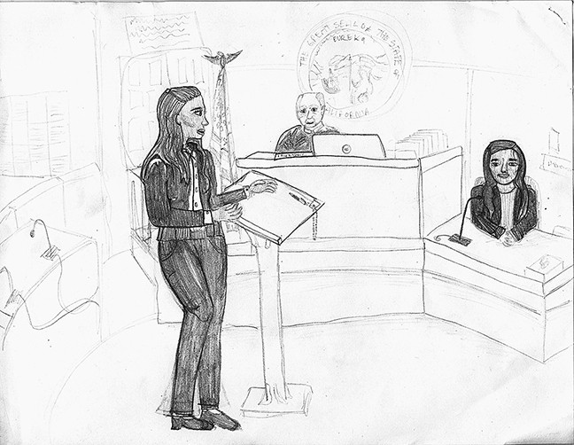 MIDDLE SCHOOL WINNER!:  Marguerite Zuniga of Laguna Middle School took first place in the middle school courtroom. - DRAWING COURTESY OF MARGUERITE ZUNIGA