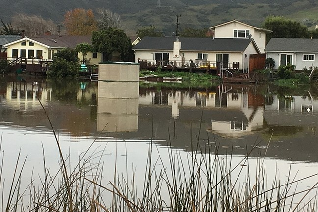 FLOAT ON:  A plastic garden shed washed out of a yard abutting Laguna Lake is spotted floating aimlessly along on Jan. 9. - PHOTO BY GLEN STARKEY