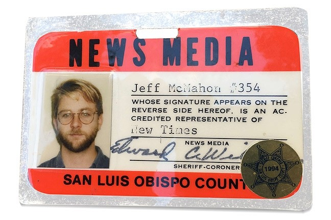 MEET THE PRESS:  A copy of Jeff McMahon's press pass from 1994. - PHOTO COURTESY OF JEFF MCMAHON