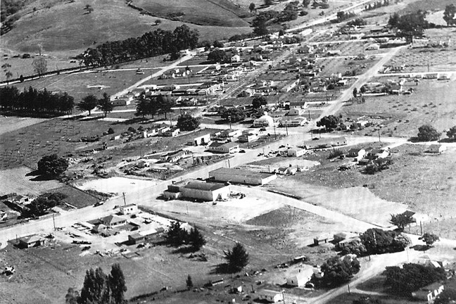 1947:  An aerial shot of the site of the Sunset Drive-In. SLO's drive-in opened in 1950. - PHOTO COURTESY OF LARRY RODKEY