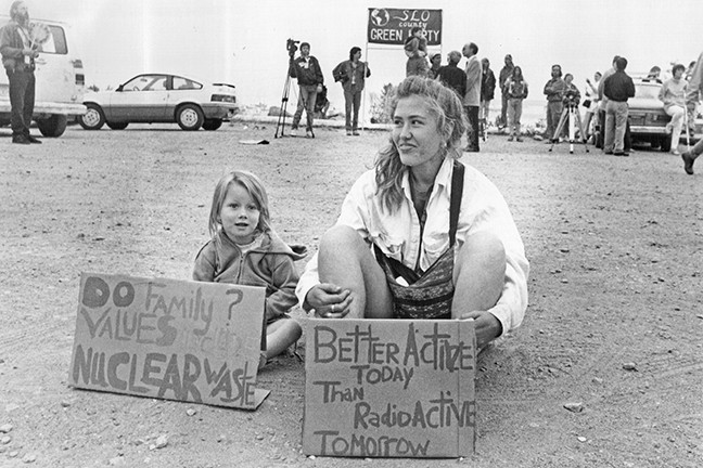 A BLAST FROM THE PAST:  Crowds of activists work to stop the Diablo Canyon Nuclear Power Plan from opening in the 1980s. - FILE PHOTO