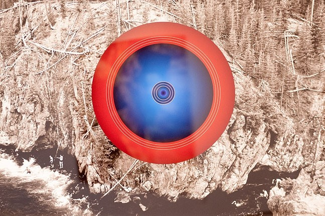 MORE THAN A PRETTY PICTURE:  Artist Don Suggs hopes to disrupt the landscape by placing circles in pieces like Firehole. The blue and red in the circle corresponds to the different hot and cold temperatures found within the same pool of water. - PHOTO COURTESY OF CUESTA COLLEGE