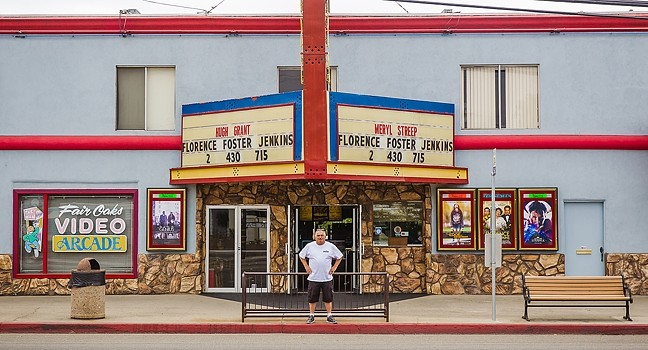1966 TO 2016:  Larry Rodkey worked with film at his first job at the Fremont and now does it all digitally at the Fair Oaks Theatre, which he owns. - PHOTO BY JAYSON MELLOM