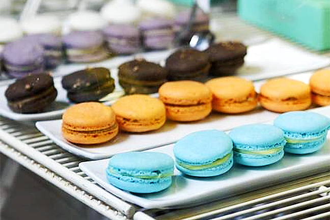EAT THE RAINBOW:  Macarons of all flavors and colors beckon at Pardon My French Bakery in Grover Beach, formerly Lickity Split Bakery. - PHOTO COURTESY OF PARDON MY FRENCH BAKERY
