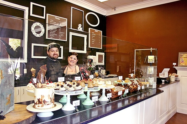 THE TASTY BUNCH:  Lalo and Jamie Tejeda of Lickity Split Bakery in Grover Beach celebrated one year in business with a French-forward menu makeover and new name, Pardon My French Bakery. - PHOTO BY HAYLEY THOMAS CAIN