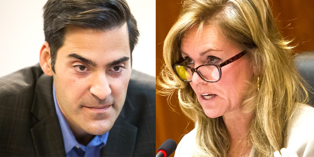DOWN TO THE WIRE The race for District 4 SLO County supervisor is still too close to call as of June 13. Incumbent Lynn Compton is ahead of challenger Jimmy Paulding by 81 votes, with about 1,000 ballots left to count. - FILE PHOTOS BY JAYSON MELLOM