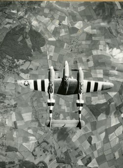 A P-38 Lightning over Normandy, 1944 - Uploaded by Jim Gregory