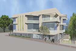 IMAGE COURTESY OF SLO ART CENTER - THE NEW VIEW FROM BROAD STREET :  The new three-story Art Center as it is currently envisioned will be 50 feet high.