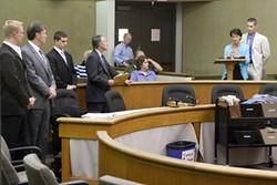 PHOTO BY STEVE E. MILLER - JUDGMENT :  Carson Starkey's parents confronted the men convicted of fatally hazing their son at a June 8 court appearance.