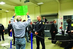 ICE TOWN:  Santa Maria became a hotbed of public outcry when the City Council approved an Immigration and Customs Enforcement (ICE) facility in town. A March 27 meeting drew record numbers of public speakers, including embattled Vandenberg Air Force Base protestor Dennis Apel. - FILE PHOTO BY AMY ASMAN