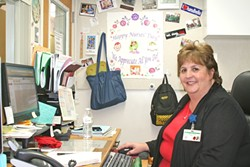 "PHOTO BY AMY ASMAN - THE NURSE IS IN:  Robyn Turner, nurse administrator for the Orcutt Union School District, said ""no day is ever the same"" at her job."
