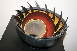 FIERCE:  California Sculpture SLAM juror Bella Feldman of Oakland explored the emotions of anguish and frustration with this spiky, fierce piece titled 'Angst 2.' - PHOTO BY HAYLEY THOMAS