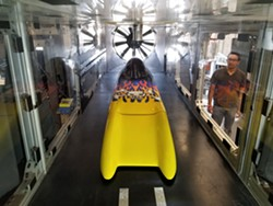 """Challenger Dynamic Testing: Student engineers wind-tunnel-testing """"The Challenger,"""" a record-breaking vehicle designed by legend Don Baumea. - Uploaded by Cate Trujillo"""