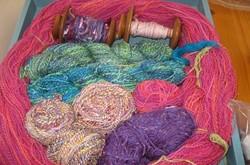 Hand-spun yarns ready for knitting - Uploaded by Mari O'Brien