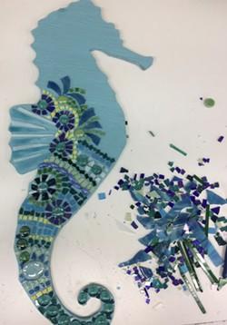 example of seahorse mosaic in progress - Uploaded by Lisa Renée Falk