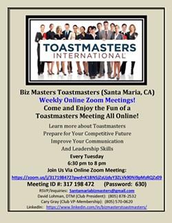 Biz Masters Toastmasters Zoom Online Flyer (04-09-2020). - Uploaded by David Lohman