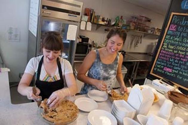 Pie Junkie workers make....pies.  mh