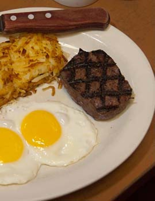Steak with eggs, at Cattlemens Steakhouse.  mh