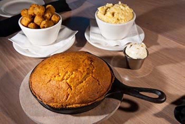 KDs Southern Cuisine's sides include Cornbread, Fried Okra and Creamy Grits, get comfortable.  mh