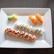<i>top to bottom</i> salmon <i>nigiri</i>, California roll and Sexy Lady