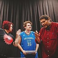 Carolyn Dunn, Cody Tabor and Johnlee Lookingglass rehearse <i>Neechie-Itas</i>.