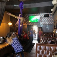Unicorn brunch includes surprises, like aerial performer Chase Vegas.
