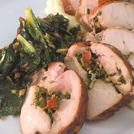 Chicken <i>roulade</i> from Budweiser Brewhouse is stuffed with sundried tomato pesto.