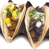 <i>Asada</i> and <i>al pastor</i> tacos from the new Taco Camion concession stand