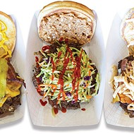 <i>from left</i> Working Man, The Zen, and The Island burgers at Right-A-Way Burger Joint