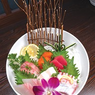 Sushi entrees at Ichiban are garnished with flowers and leaves.