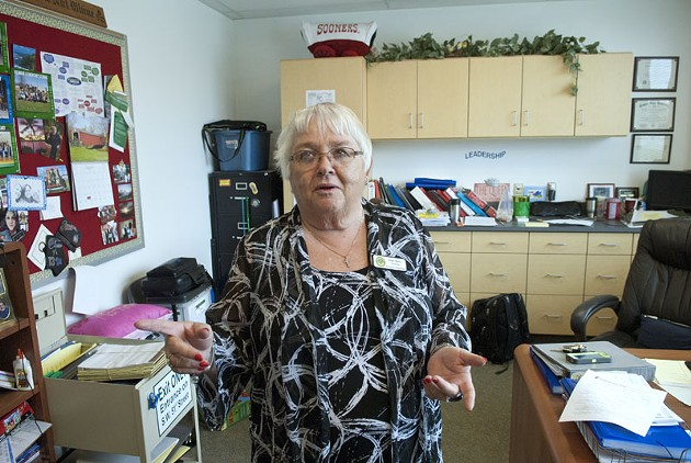 Principal Susan Martin-Rachels' office reflects her busyness at Fillmore Elementary School in OKC.  mh