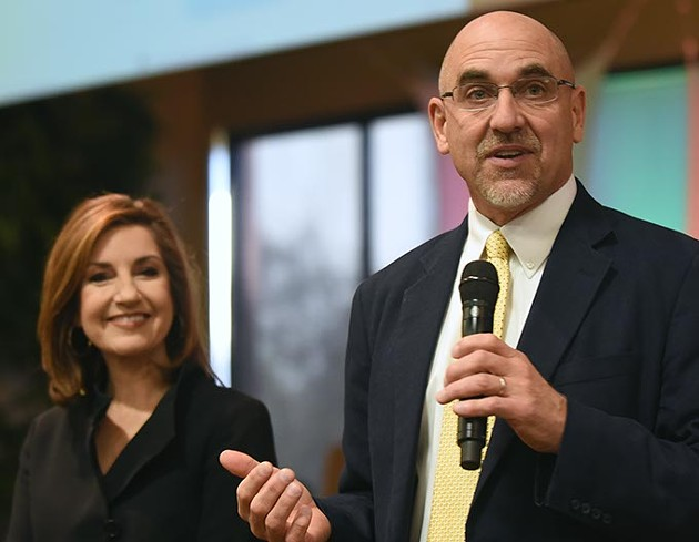 Incoming State Superintendent Joy Hofmeister and Superintendent Robert Neu. (Mark Hancock)