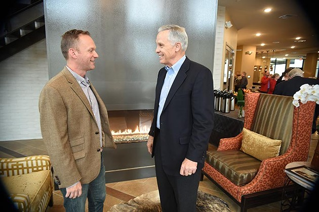 Ben Sellers with Wayne Properties, visits with Ex-OKC Mayor, Kirk Humphreys, during an open house at The Edge, 11-4-14.  mh
