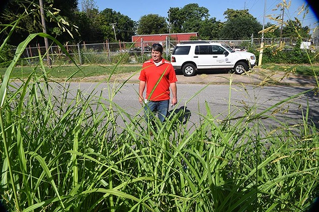 David Oen, Chief Building Insperctor for the City of OKC, walks from his truck and surveys the tall Johnson Grass growing in a lot at the corner of S.W. 4 Street & Lee Avenue recently.  mh