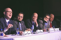 From left, State Representitive Scott Inman speaking, with Chuck Hoskin Jr., Cherokee Nation, Dr. Mickey Hepner, UCO, State Senator Clark Jolley, and State Auditor Gary Jones, during the Annual State Budget Summit held at the Will Rogers Center, 1-28-16. - MARK HANCOCK