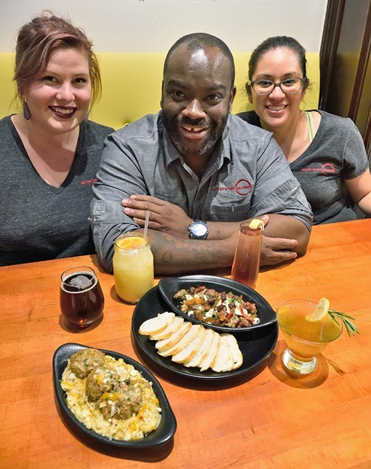 From left, Sarah Shearer, GM, Chef Andrew Black, and Chef Andrew Miller, with food and drink at the the Meatball House in Norman, Oklahoma, 11-19-15. - MARK HANCOCK