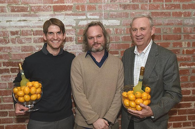 From left, Chris Fleming, Brian Fitzsimmons, and Mickey Clagg. Winners of the best small scall redevelopment award at the ULI Impact Awards. - MARK HANCOCK