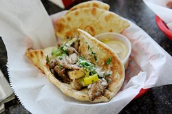 Shawarma chicken sandwich at Sister's Mediterranean Taste in Norman, Thursday, Dec. 31, 2015. - GARETT FISBECK