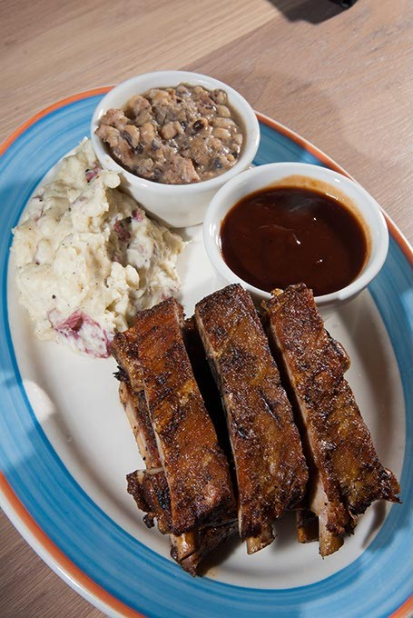 KD's Southern Cuisine's Barbecue Pork Ribs with Mashed Red Potatoes and Black-eyed Peas.  mh