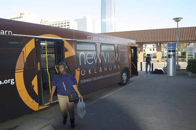One of the last buses of the evening arrives at Oklahoma City's downtown transit center close to 7:30 p.m. - BEN FELDER