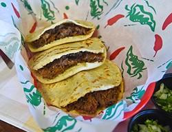 3 beef barbacoa gorditas in corn tortillas, at Gorditas Mexican Kitchen, 11-2-15, in southwest OKC. - MARK HANCOCK