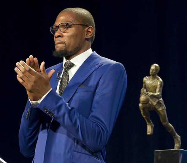 Kevin Durant accepted the NBA's MVP award.