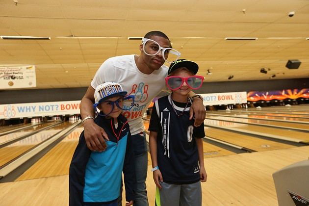 EDMOND, OK - APRIL 9:  Oklahoma City Thunder Russell Westbrook and his Why Not? Foundation sponsor a bowling event on April 9, 2015 at AMF Boulevard Lanes in Edmond, Oklahoma. NOTE TO USER: User expressly acknowledges and agrees that, by downloading and or using this Photograph, user is consenting to the terms and conditions of the Getty Images License Agreement. Mandatory Copyright Notice: Copyright 2015 NBAE - PHOTO BY LAYNE MURDOCH/NBAE VIA GETTY IMAGES