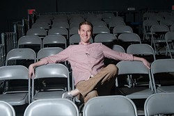 Spencer Hicks at the auditorium at Oklahoma Contemporary, where they used to perform.  mh